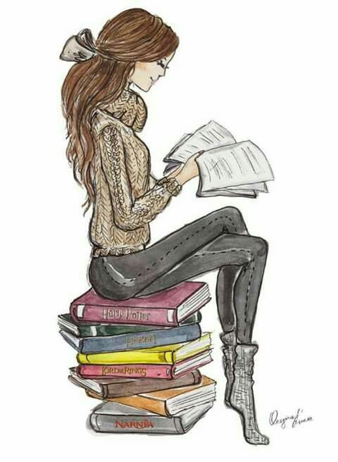 girl reading book drawing 61